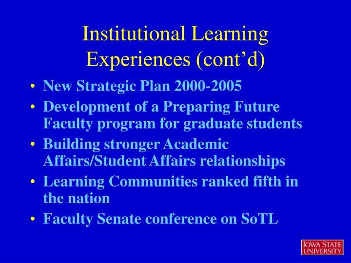New Strategic Plan 2000-2005