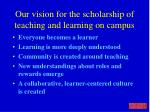 our vision for the scholarship of teaching and learning on campus