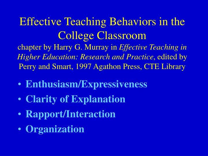 Effective Teaching Behaviors in the College Classroom