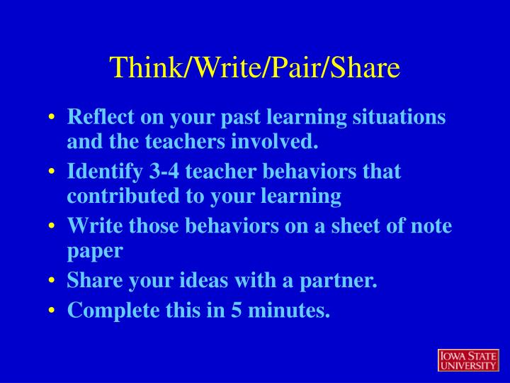 Reflect on your past learning situations and the teachers involved.