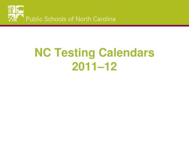 nc testing calendars 2011 12