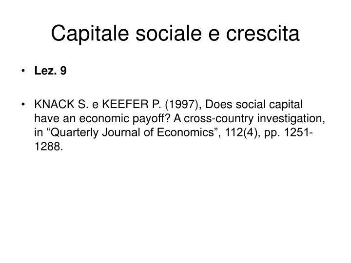 Capitale sociale e crescita