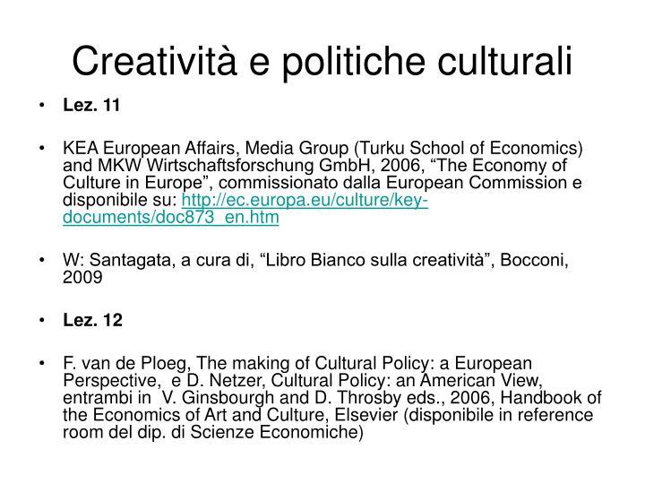 Creatività e politiche culturali