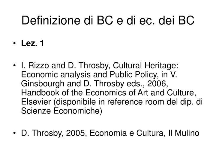 Definizione di BC e di ec. dei BC