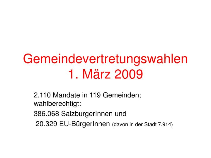 Gemeindevertretungswahlen 1. März 2009