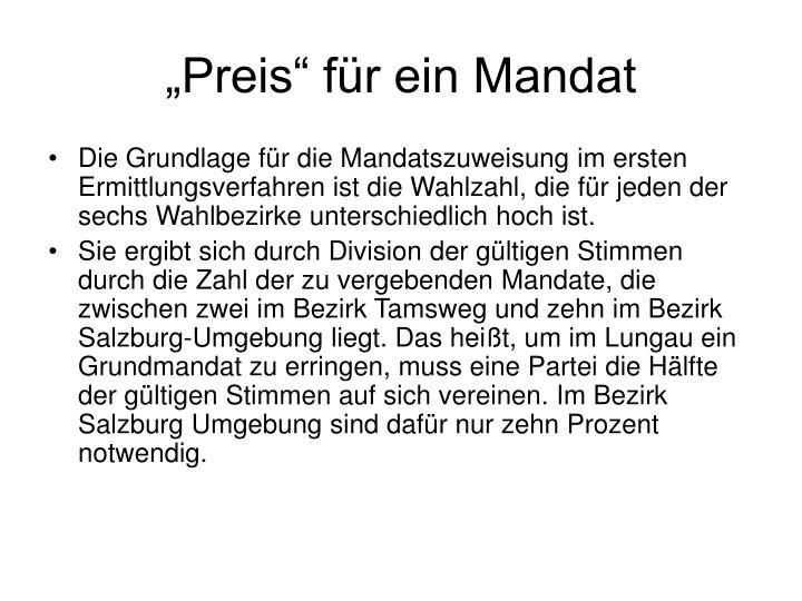 """""""Preis"""" für ein Mandat"""
