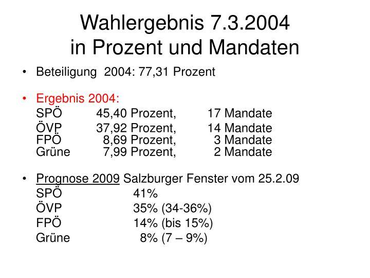 Wahlergebnis 7.3.2004