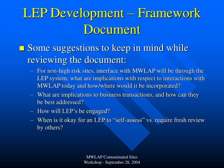 LEP Development – Framework Document