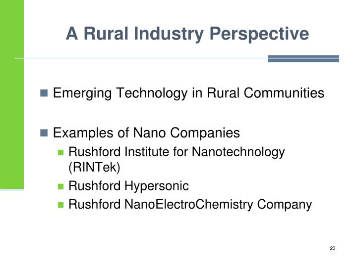 A Rural Industry Perspective