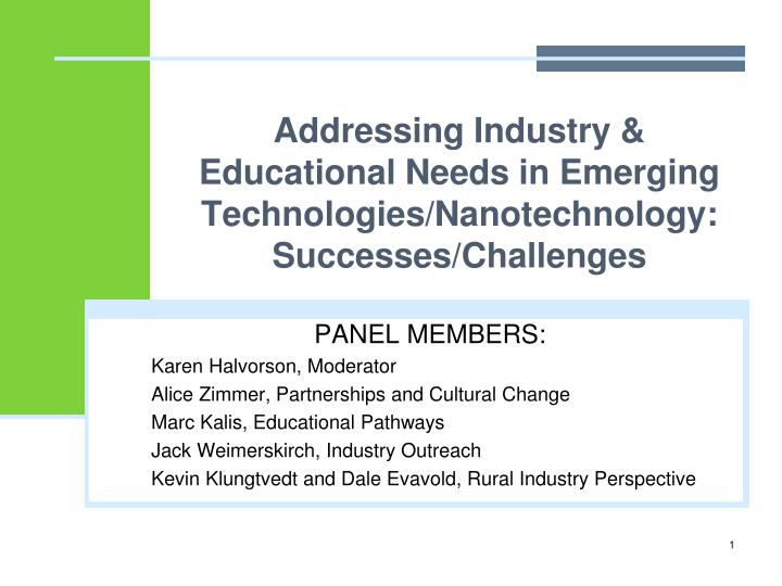 Addressing industry educational needs in emerging technologies nanotechnology successes challenges