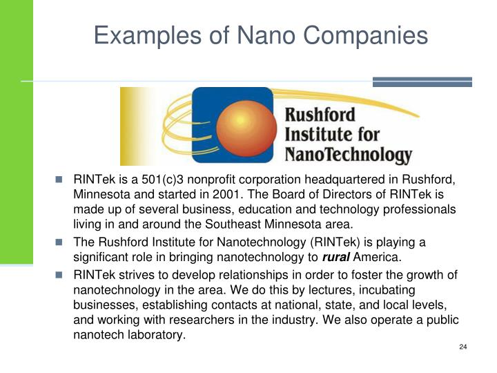 Examples of Nano Companies