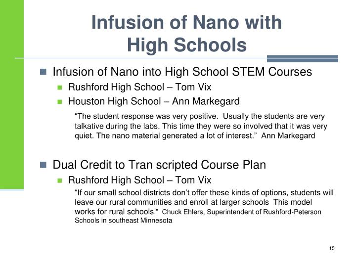 Infusion of Nano into High School STEM Courses