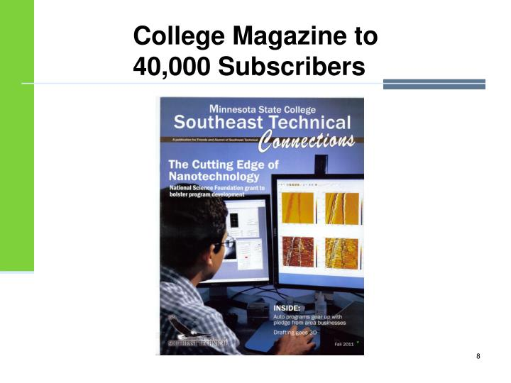College Magazine to 40,000 Subscribers