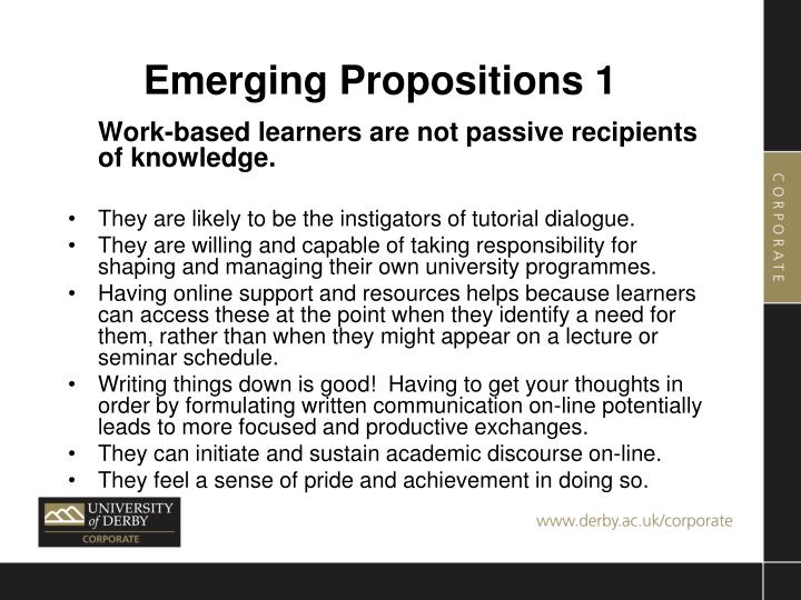 Emerging Propositions 1