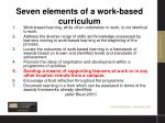 seven elements of a work based curriculum