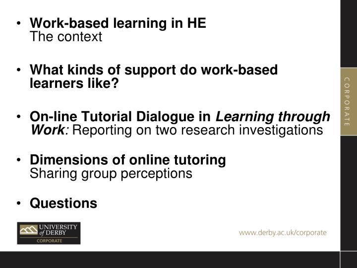 Work-based learning in HE