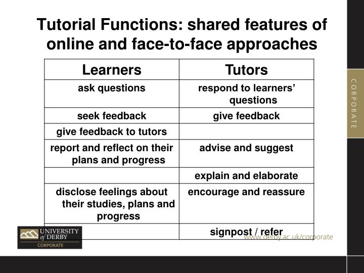 Tutorial Functions: shared features of online and face-to-face approaches