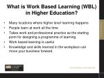 what is work based learning wbl in higher education1