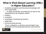 what is work based learning wbl in higher education2
