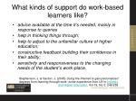 what kinds of support do work based learners like