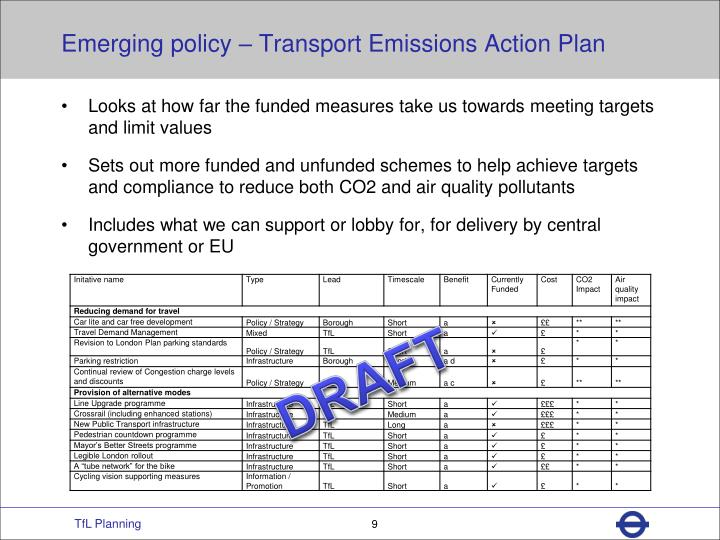 Emerging policy – Transport Emissions Action Plan