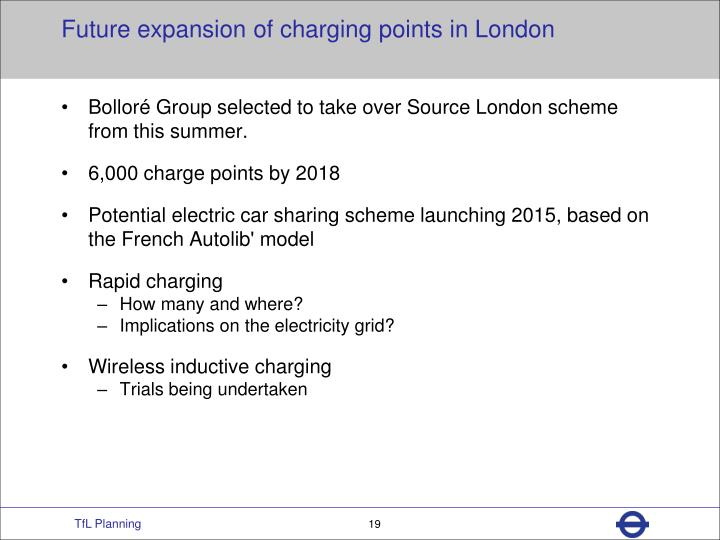 Future expansion of charging points in London