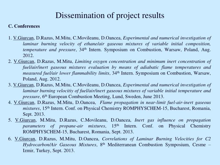 Dissemination of project results