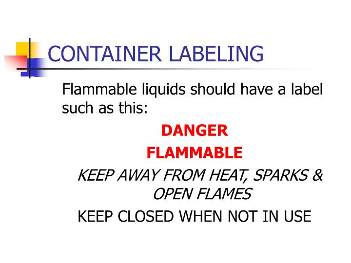 CONTAINER LABELING