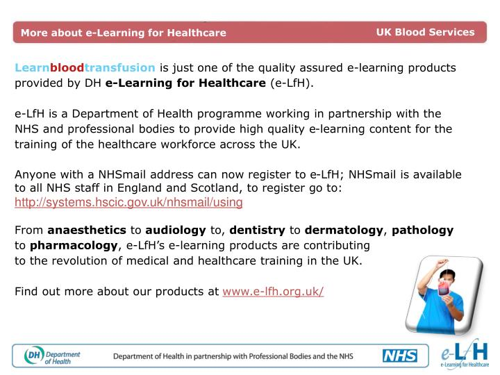 More about e-Learning for Healthcare