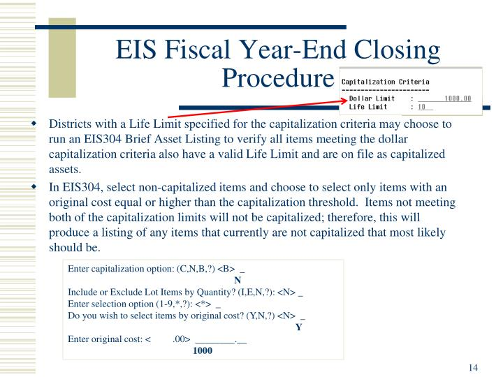 EIS Fiscal Year-End Closing Procedure