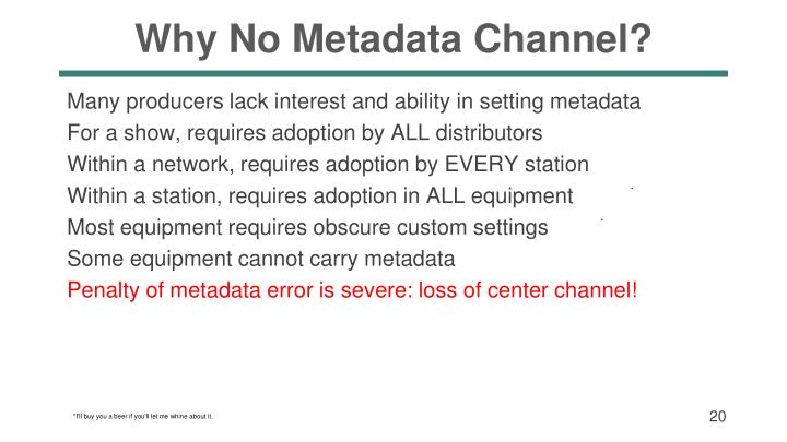 Why No Metadata Channel?