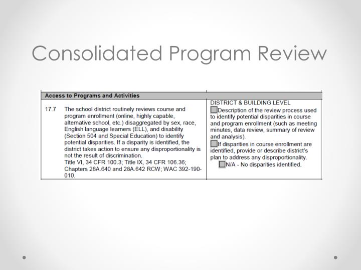 Consolidated Program Review
