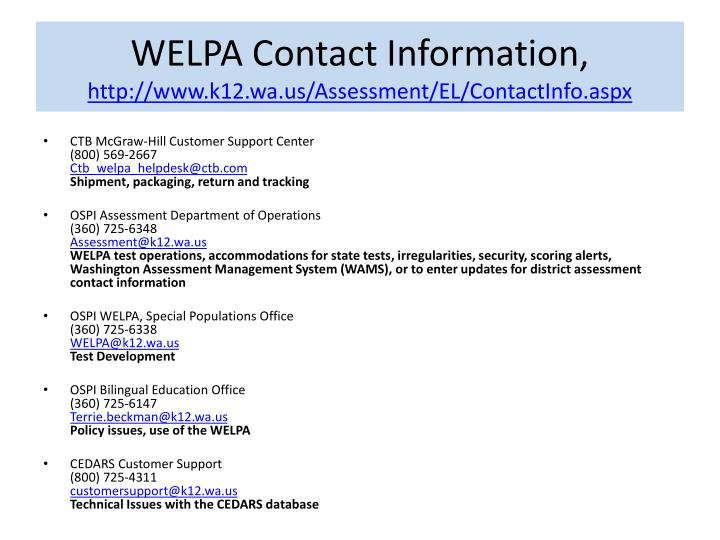 WELPA Contact Information,