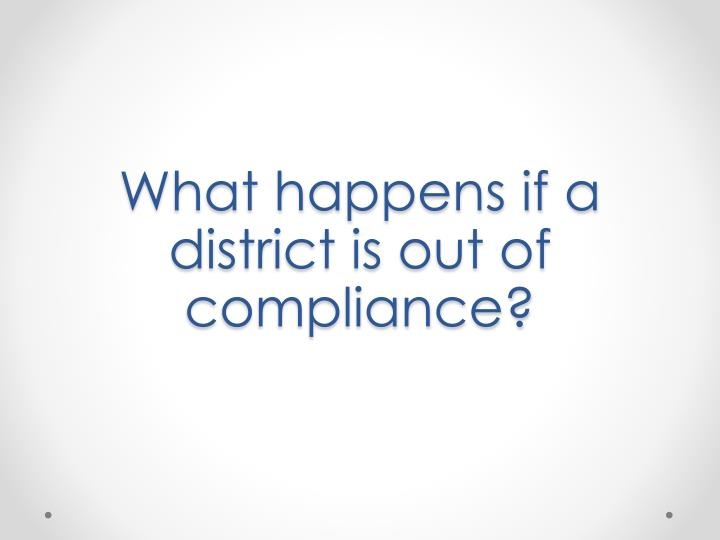 What happens if a district is out of compliance?