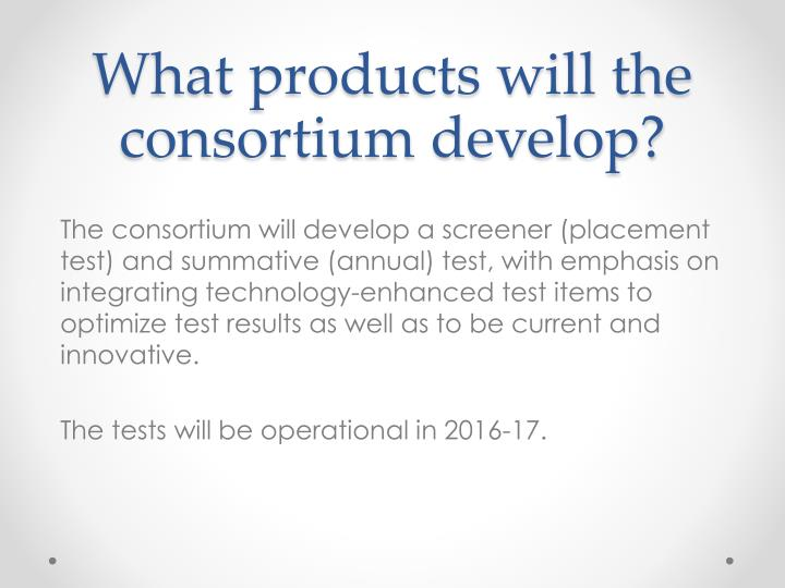 What products will the consortium develop?