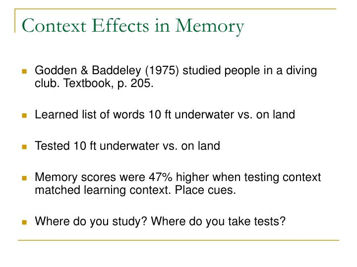 Context Effects in Memory