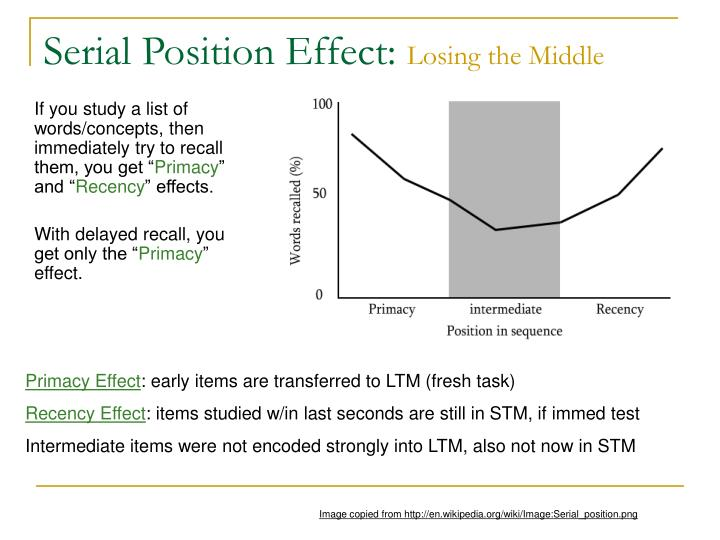 Serial Position Effect: