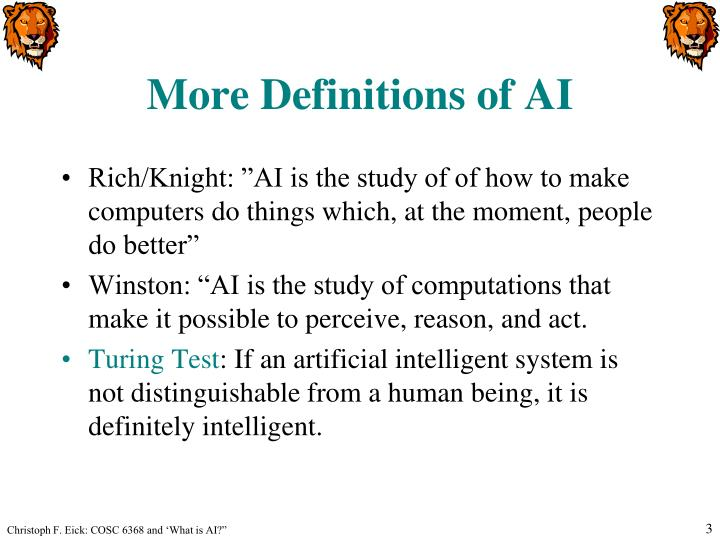 More definitions of ai