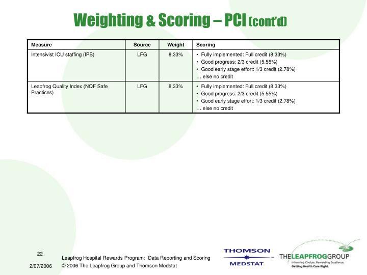 Weighting & Scoring – PCI