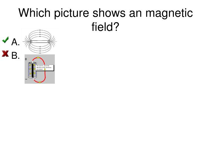 Which picture shows an magnetic field?