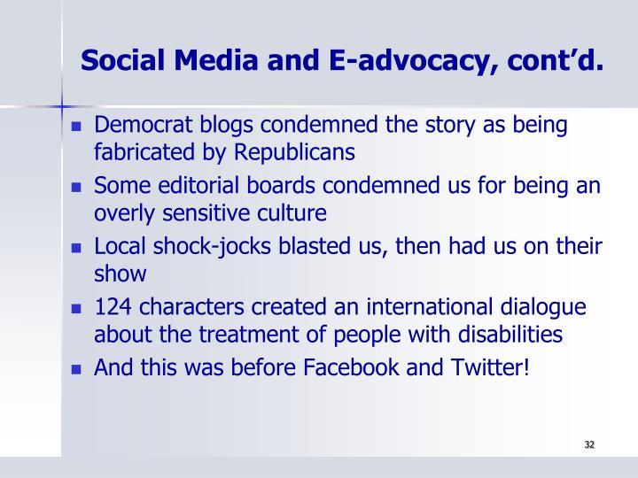 Social Media and E-advocacy, cont'd.