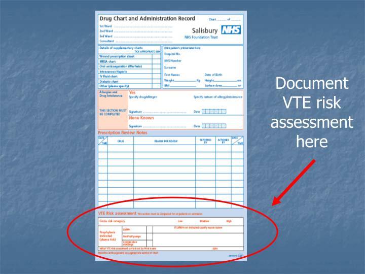 Document VTE risk assessment here