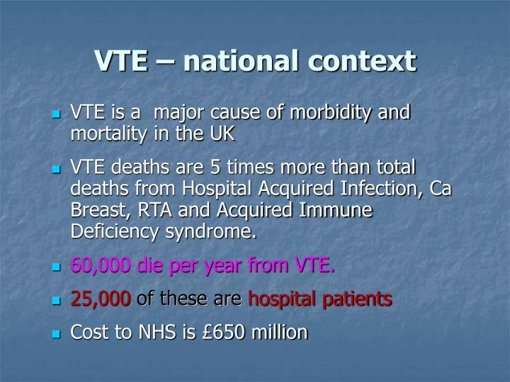 VTE – national context