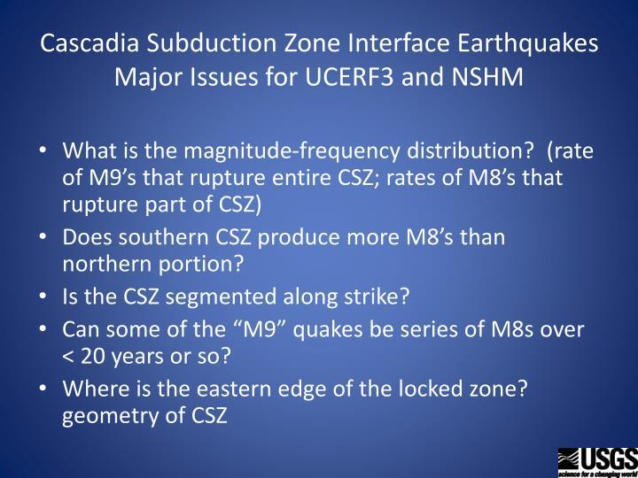 Cascadia Subduction Zone Interface Earthquakes