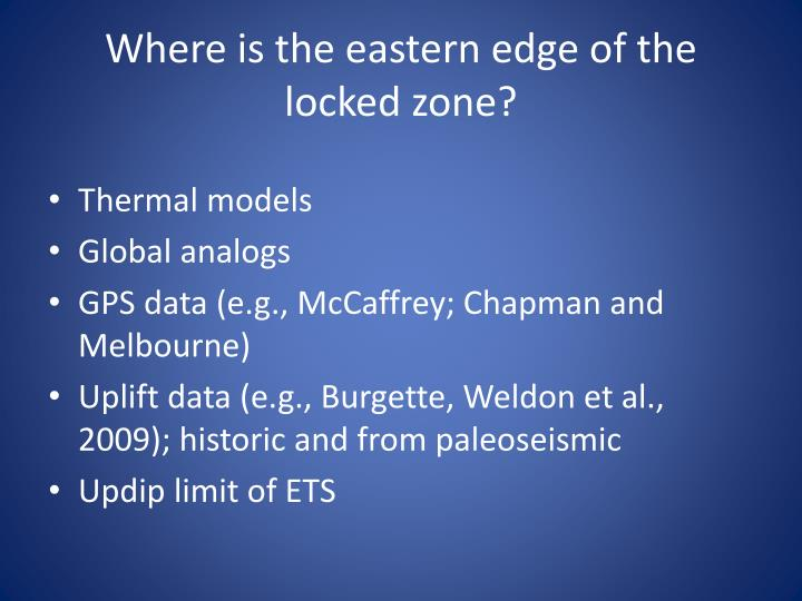 Where is the eastern edge of the locked zone?