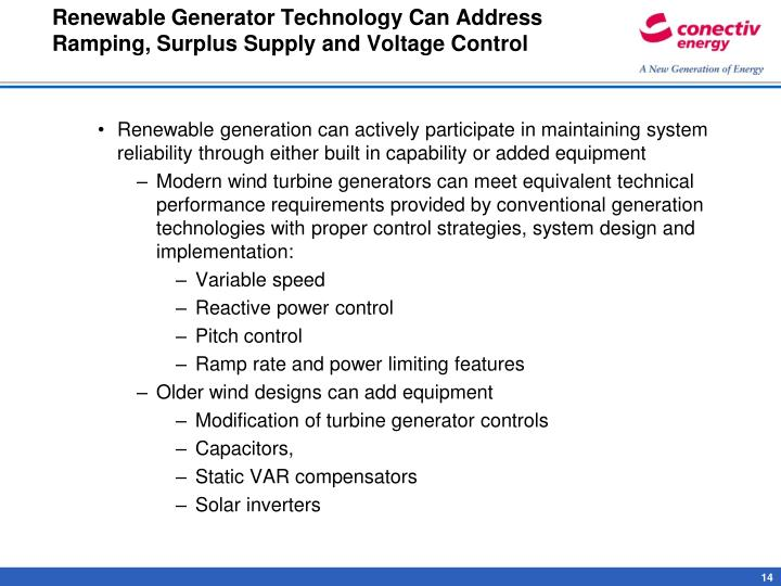 Renewable Generator Technology Can Address Ramping, Surplus Supply and Voltage Control