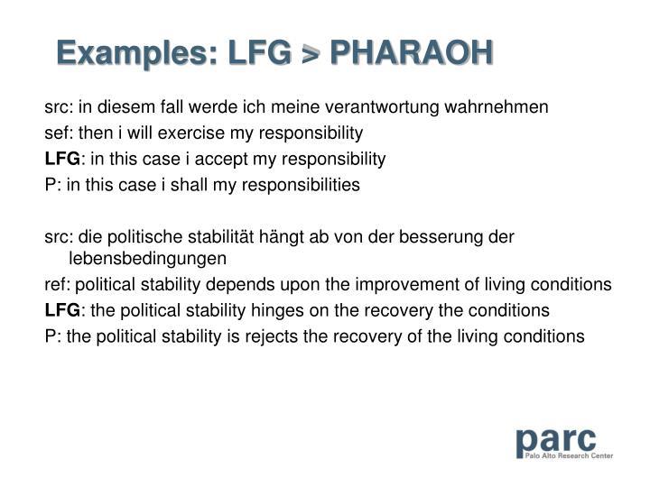 Examples: LFG > PHARAOH