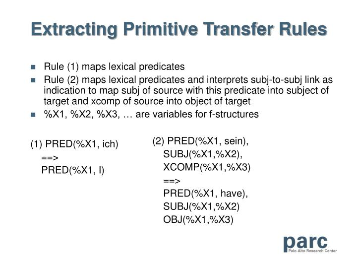 Extracting Primitive Transfer Rules