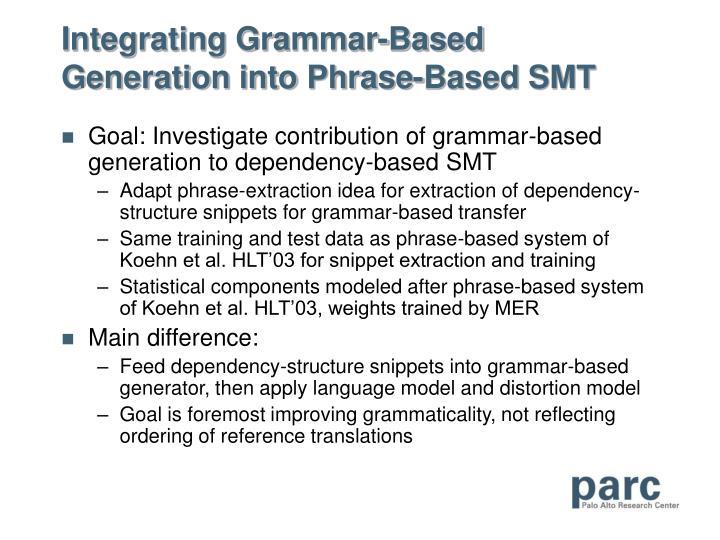 Integrating Grammar-Based Generation into Phrase-Based SMT