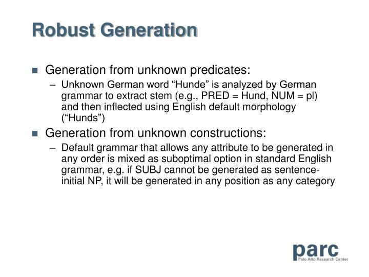 Robust Generation